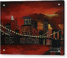 Sunset In New York Acrylic Print by Denisa Laura Doltu