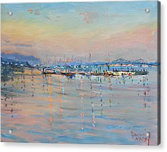 Sunset In Piermont Harbor Ny Acrylic Print by Ylli Haruni