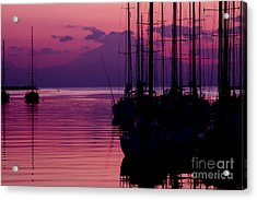 Sunset In Pink And Purple With Yachts At Bay Acrylic Print