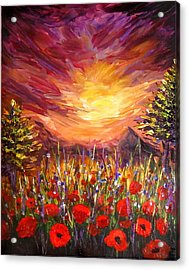 Sunset In Poppy Valley  Acrylic Print by Lilia D