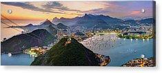Sunset In Rio De Janeiro Acrylic Print by Anna Gibiskys