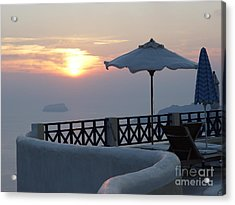 Acrylic Print featuring the photograph Sunset In Santorini by Nancy Bradley