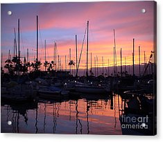 Acrylic Print featuring the photograph Sunset In The Ala Wai by Laura  Wong-Rose