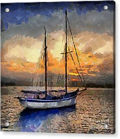 Sunset In The Bay Acrylic Print by Dragica  Micki Fortuna
