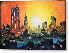 Acrylic Print featuring the painting Sunset In The City by Amy Giacomelli