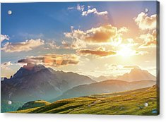 Sunset In The Mountains Acrylic Print by Peter Zelei Images