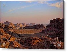 Sunset In The Wadi Rum Desert Jordan Acrylic Print