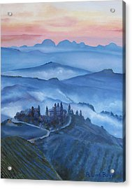 Sunsets In Tuscany Italy Acrylic Print by Lisa Boyd
