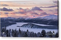 Sunset In Winter Mountains Acrylic Print
