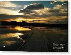 Sunset In Yellow Stone Acrylic Print by Jeff Swan