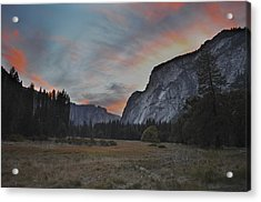 Sunset In Yosemite Valley Acrylic Print
