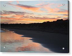 Acrylic Print featuring the photograph Sunset Kissing Shore by Amanda Holmes Tzafrir