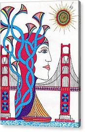 Sunset Lady At G. G. Bridge Acrylic Print