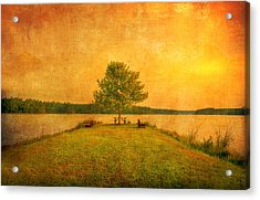 Sunset Lake And Benches Acrylic Print by Gregory W Leary