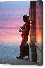 Sunset Lake Colorful Woman Rajasthani Udaipur India Acrylic Print