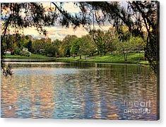 sunset lake I Acrylic Print by Chuck Kuhn