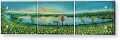Sunset Lake Triptych Acrylic Print