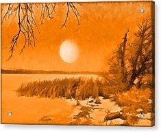 Acrylic Print featuring the digital art Calm Lake Under Full Moon - Boulder County Colorado by Joel Bruce Wallach