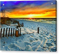 Sunset Landscape-red Beach Sunset Acrylic Print by Eszra Tanner