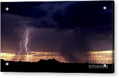 Acrylic Print featuring the photograph Sunset Lightning-signed by J L Woody Wooden
