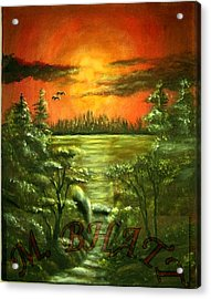 Sunset Acrylic Print by M bhatt