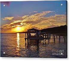 Sunset At Morehead City Nc Acrylic Print by Marilyn Carlyle Greiner