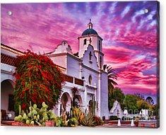 Sunset Mission San Luis Rey De Francia By Diana Sainz Acrylic Print
