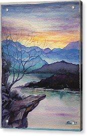 Sunset Montains Acrylic Print by Alban Dizdari