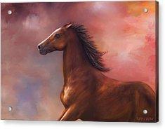 Acrylic Print featuring the digital art Sunset Mustang by Kari Nanstad