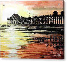 Sunset Oceanside Pier Acrylic Print by Tom Riggs
