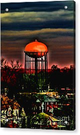 Sunset On A Charlotte Water Tower By Diana Sainz Acrylic Print by Diana Sainz
