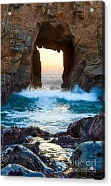 Sunset On Arch Rock In Pfeiffer Beach Big Sur. Acrylic Print