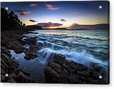 Sunset On Ber Beach Galicia Spain Acrylic Print