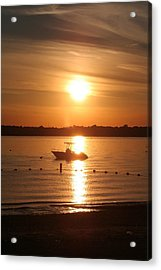 Acrylic Print featuring the photograph Sunset On Boat by Karen Silvestri