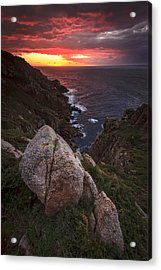 Sunset On Cape Prior Galicia Spain Acrylic Print