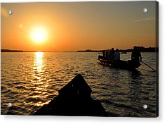 Sunset On Chilika Lake Orissa India Acrylic Print