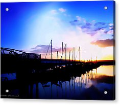 Sunset On Edmonds Washington Boat Marina Acrylic Print