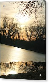 Sunset On Frozen Lake Acrylic Print by Alicia Knust