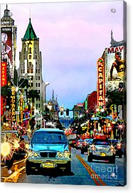 Acrylic Print featuring the digital art Sunset On Hollywood Blvd by Jennie Breeze