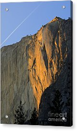 Sunset On Horsetail Fall Acrylic Print by Jim and Emily Bush