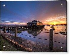 Sunset On Jekyll Island Acrylic Print by Debra and Dave Vanderlaan