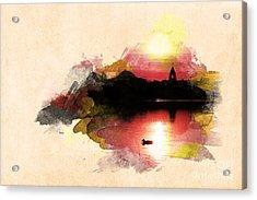 Sunset On Lake Acrylic Print by Martin Dzurjanik