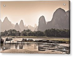 Sunset On Li River Acrylic Print