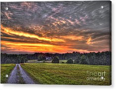 Take Me Home Sunset On Lick Skillet Road  Acrylic Print by Reid Callaway