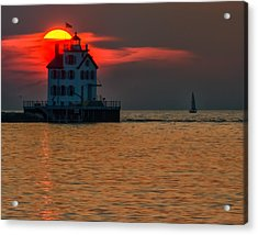 Sunset On Lighthouse Acrylic Print