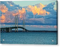 Sunset On Mackinac Bridge Acrylic Print