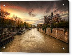 Sunset On Notre Dame Acrylic Print