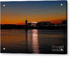 Sunset On Paul Brown Stadium Acrylic Print by Mary Carol Story