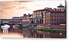 Sunset On Ponte Vecchio In Florence Acrylic Print