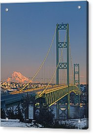 1a4y20-v-sunset On Rainier With The Tacoma Narrows Bridge Acrylic Print